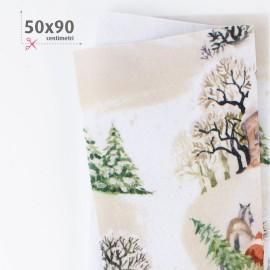 PANNOLENCI STAMPATO NATALIZIO 50X90 CM PAESAGGIO NEVE - BEIGE
