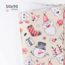 PANNOLENCI STAMPATO NATALIZIO 50X90 CM HAPPY CHRISTMAS - BEIGE