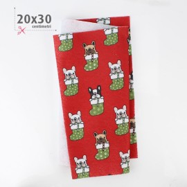 FELT PRINTED CHRISTMAS 20X30 CM DOG AND SOCK- RED