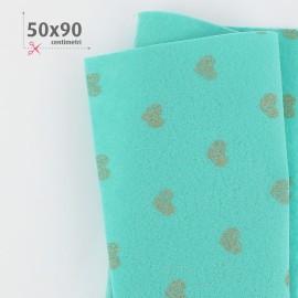 PANNOLENCI CUORI METAL ORO 50X90 CM - VERDE TIFFANY