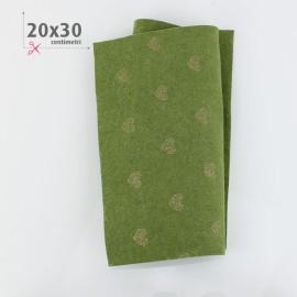 PANNOLENCI CUORI METAL ORO 20X30 CM - VERDE SALVIA