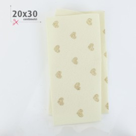 FELT HEARTS METAL GOLD 20X30 CM - CREAM