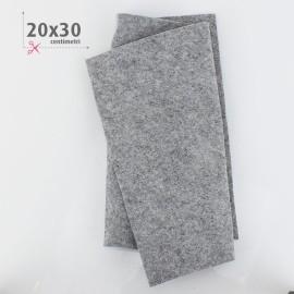 PANNOLENCI CUORI METAL ARGENTO 20X30 CM - GRIGIO CHIARO