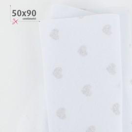 PANNOLENCI CUORI METAL AREGNTO 50X90 CM - BIANCO