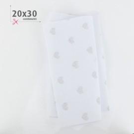 PANNOLENCI CUORI METAL ARGENTO 20X30 CM - BIANCO