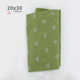 PANNOLENCI CUORI METAL ARGENTO 20X30 CM - VERDE SALVIA