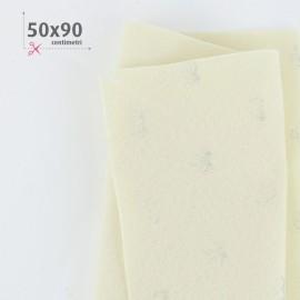 PANNOLENCI CUORI METAL ARGENTO 50X90 CM - PANNA