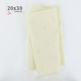 PANNOLENCI CUORI METAL ARGENTO 20X30 CM - PANNA