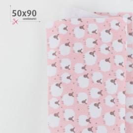 PANNOLENCI STAMPATO PECORELLE 50X90 CM - ROSA