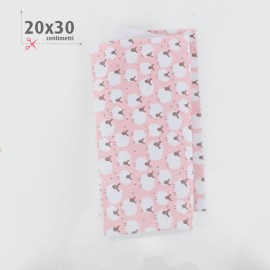 PANNOLENCI STAMPATO PECORELLE 20X30 CM - ROSA