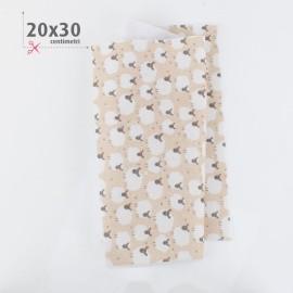 PANNOLENCI STAMPATO PECORELLE 20X30 CM - BEIGE