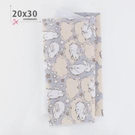 PANNOLENCI STAMPATO CONIGLIETTI 20X30 CM - AZZURRO