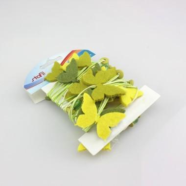 FILO DECORATIVO CON FIORI IN FELTRO VERDE/GIALLO E PERLE