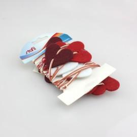 FILO DECORATIVO CON CUORI IN FELTRO BORDEAUX/ROSSO/BIANCO E PERLE