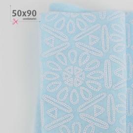 FELT PRINTED 50X90 CM AZTECA - LIGHT BLUE