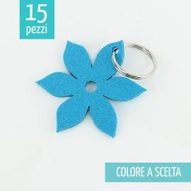 15 KEY RING IN FELT 3mm - FLOWER PETAL POINT