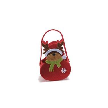 HANDBAG CHRISTMAS RED FELT/BROWN - REINDEER