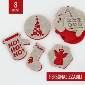 8 DOUBLE CHRISTMAS DECORATIONS - CARVED - FELT AND PANNOLENCI