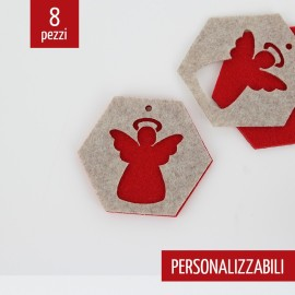 8 DOUBLE CARVED CHRISTMAS DECORATIONS - ANGEL HEXAGON - FELT AND PANNOLENCI