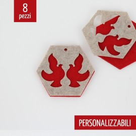 8 DOUBLE CARVED CHRISTMAS DECORATIONS - HEXAGON COLOMBS - FELT AND PANNOLENCI