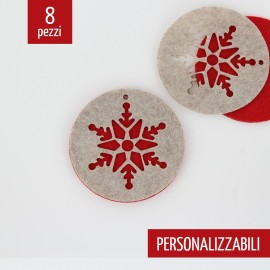 8 DOUBLE CARVED CHRISTMAS DECORATIONS - SNOWFLAKE CIRCLE - FELT AND PANNOLENCI