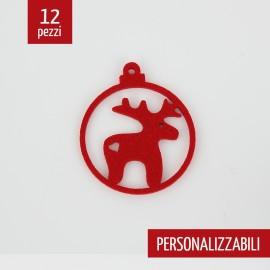 12 CHRISTMAS DECORATIONS - REINDEER BALL - CUSTOMIZABLE