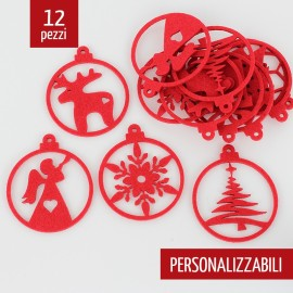 12 CHRISTMAS DECORATIONS - MIXED BALLS - IN FELT