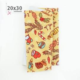 PANNOLENCI STAMPATO NATALIZIO 20X30 CM HAPPY NEW YEAR - GIALLO