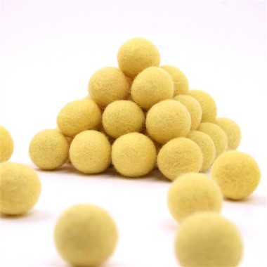 FELT BALL Ø 15 MM - YELLOW - 25 pcs
