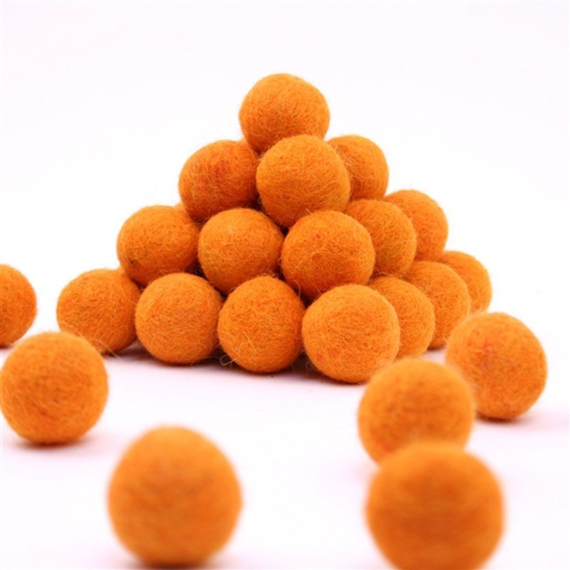 FELT BALL Ø 15 MM - ORANGE - 25 pcs