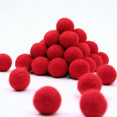 FELT BALL Ø 15 MM - RED - 25 pcs