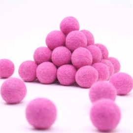 FELT BALL Ø 15 MM - PINK - 25 pcs