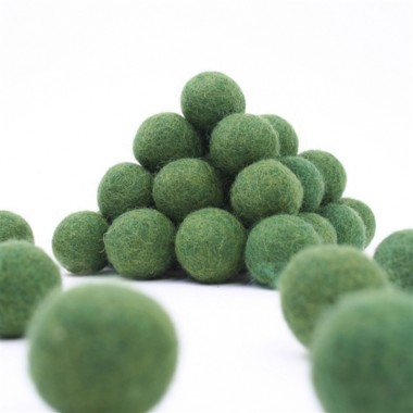 PALLINE IN FELTRO Ø 15 MM - VERDE SCURO - 25pz