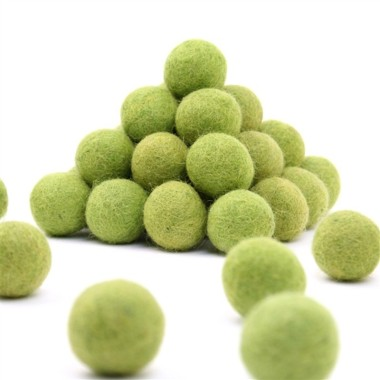 FELT BALL Ø 15 MM - lime GREEN - 25 pcs