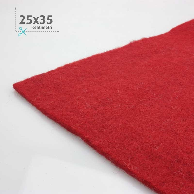WOOL FELT RED 25x35 CM