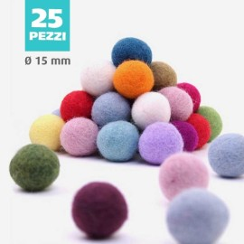 FELT BALL Ø 15 MM - BLACK - 25 pcs