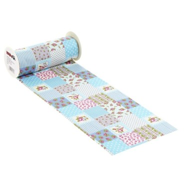 COTTON, H 20 x 50 cm PATCHWORK BLUE