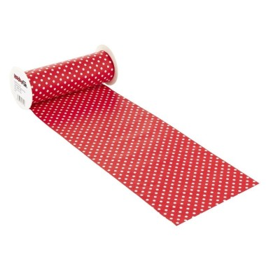 COTTON, H 20 x 50 cm - polka dot RED