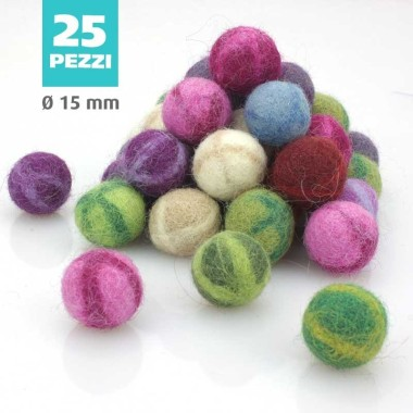 KIT SAVINGS FELT BALL FANTASY Ø 15 MM - 25 pcs