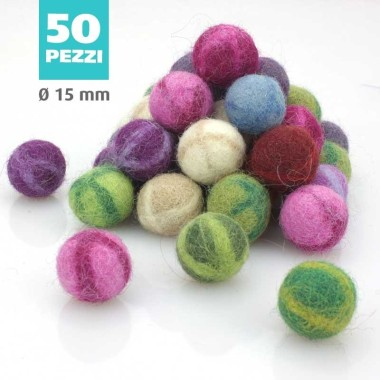 KIT SAVINGS FELT BALL FANTASY Ø 15 MM - 50pcs