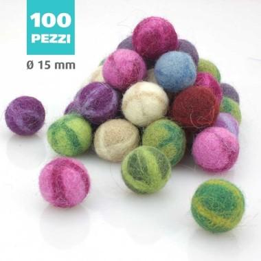 KIT SAVINGS FELT BALL FANTASY Ø 15 MM - 100pcs
