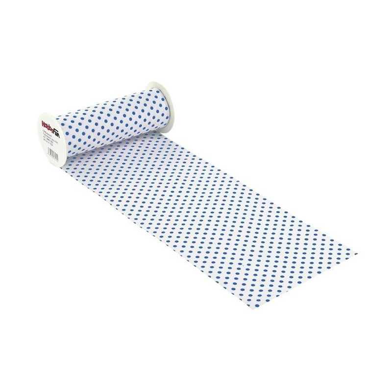 COTTON, H 20 x 50 cm WHITE polka dot/BLUE