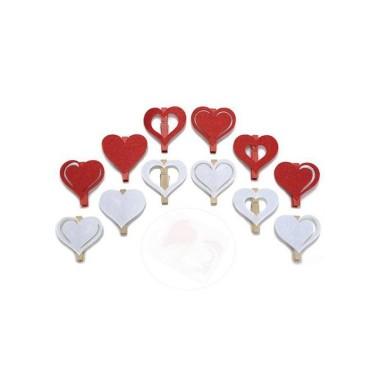12 CLOTHESPINS FELT - HEART