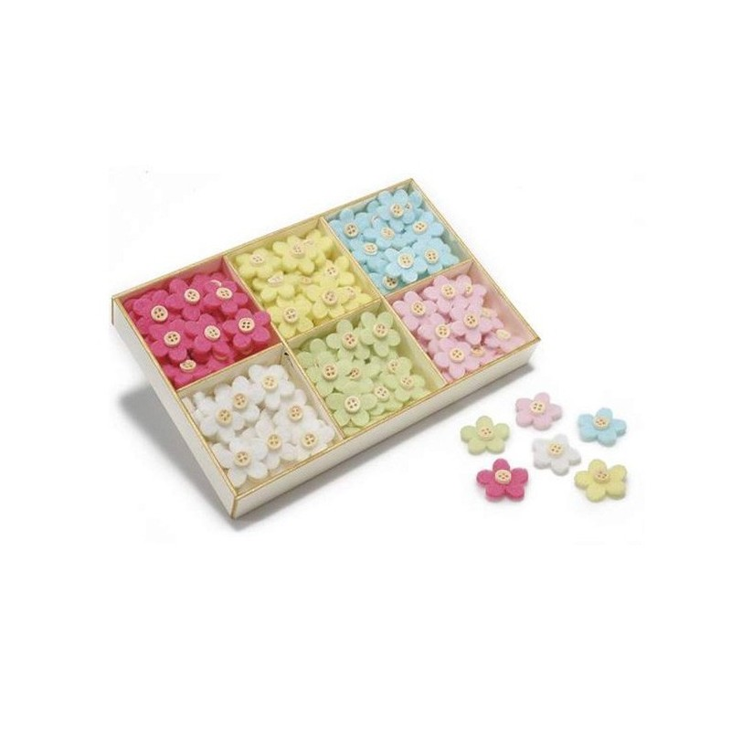 12 DECORATIONS IN FELT PRINTED POLKA DOTS - FLOWERS