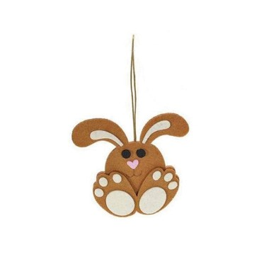 2 DECORATIONS FELT BUNNY RABBIT - BROWN