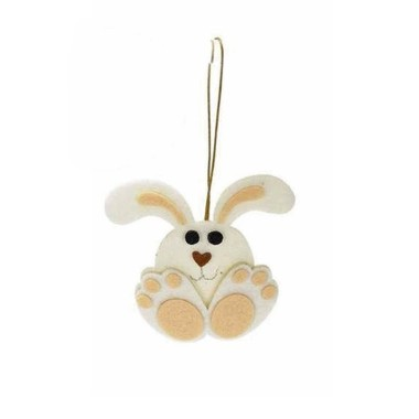 2 DECORATIONS FELT BUNNY - CREAM
