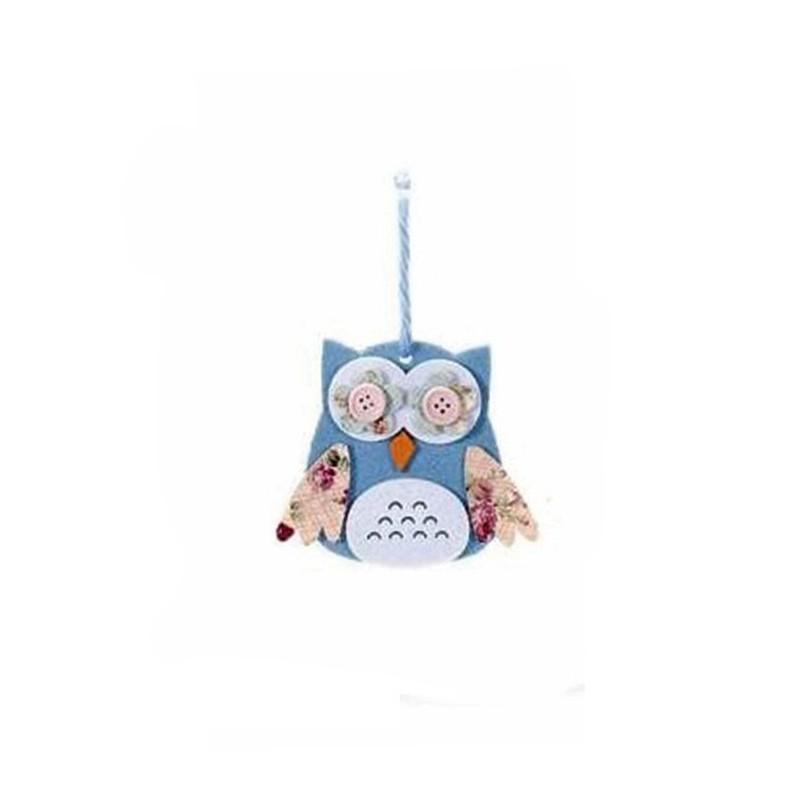 GUFO DECORATIVO IN LEGNO E FELTRO - VERDE ACIDO