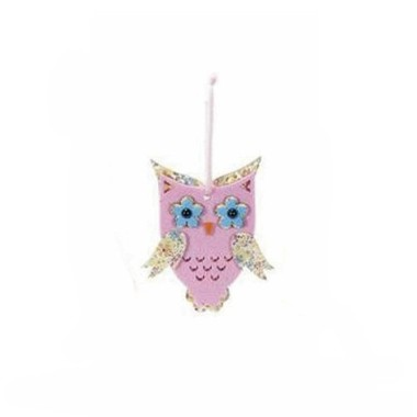 OWL DECORATIVE WOOD-AND-FELT - PINK