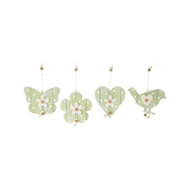 24 WOOD DECORATIONS, PRINTED POLKA-DOT - HEART AND BUTTERFLY