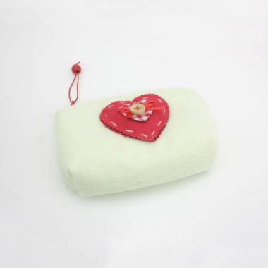 PURSE CHRISTMAS FELT CREAM HEART